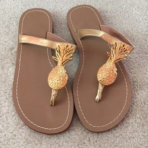 Lilly Pulitzer For Target Pineapple Sandals, Sz 6